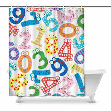Bathroom Chart For Kids Mkhert Funny Number Chart With Cartoon Design For Kids Home Decor Waterproof Polyester Bathroom Shower Curtain Bath 66x72 Inch