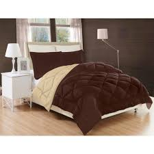 elegant comfort down alternative chocolate brown and cream reversible king comforter set