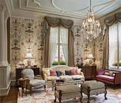 artistic wall design for english living room traditional style with classic furniture using crystal chandelier