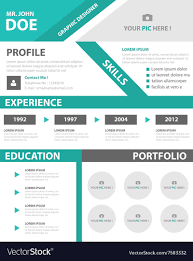 Green Smart Creative Resume Business Profile Cv Vector Image