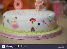 Birthday Cake For A Five Year Olds Fairy And Pirate Party Stock