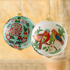 reverse painted love and longevity glass ornaments