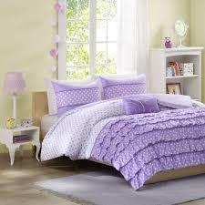 details about full size 4 piece girls purple ruffles polka dots comforter set teens bedding