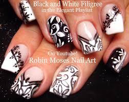 Nail Art   Black and White Nails!   Mix and Match Filigree Nail ...
