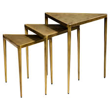 ciri hollywood regency antique brass triangle nesting tables set of 3 kathy kuo home