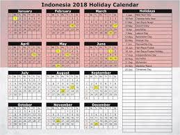 2018 calendar with indonesia holidays free printable calendar 2018