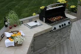 Outdoor Barbecue Kitchen Designs Stone And Tile Outdoor Kitchen On Wood Deck Archadeck Outdoor Living