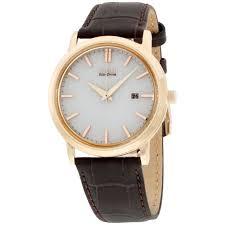 citizen men s gold tone brown leather strap eco drive bm7193 07b watch