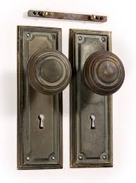 Antique Brass Arts Crafts Door Hardware Set with Knobs Plates