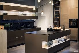 Kitchen Island Open Shelves Gray Island With Granite Countertop Exposed White Brick Floating