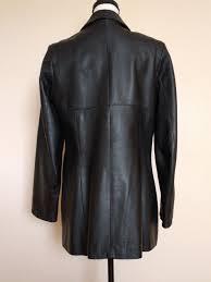 vera pelle soft black leather jacket coat size 12 italy womens