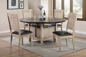 ramona dark walnut round dining table set with leaf