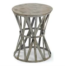 distressed industrial furniture. Romy Hand Painted Distressed Gray Industrial Iron Drum Side Table | Kathy Kuo Home Furniture O
