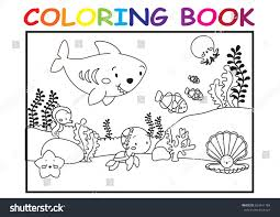 Kids Coloring Page Cute Sea Animal Stock Vector 663441184 ...
