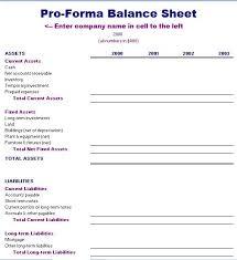 Proforma Balance Sheet Template Formal Word Templates