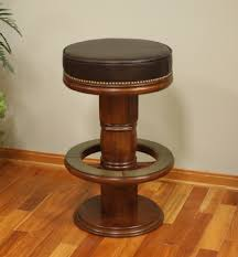 amazing round wooden barstool with dark brown faux leather seat on laminate wooden floor