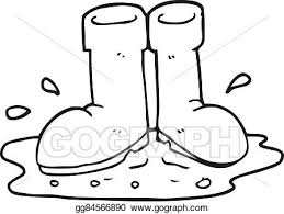 black and white cartoon wellington boots in puddle