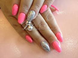 Social Build - Acrylic Nails With Pink Gel Polish And Silver ...