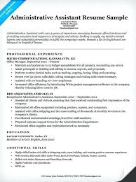 Resume Template For Office Assistant Administrative Example Write
