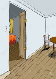 Open Bedroom Door And Dining Area Background Royalty Free Cliparts ...