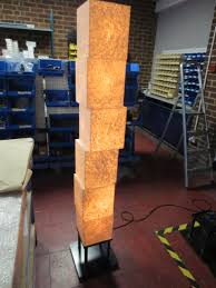 metro lighting custom wobbly cube free standing light fixture 6 x cubes covered in anese paper looking as if unle however secret fixings allow it