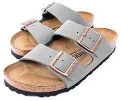 birkenstock arizona 2 strap women s sandals in stone birko flor narrow width