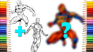 Professional artist colours a childrens colouring book.? Spider Man 2099 With Iron Man Coloring Pages Youtube