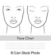 vector woman face chart portrait female face with open and closed eyes blank template