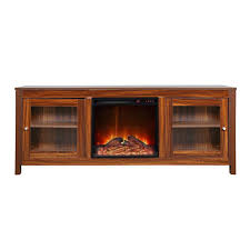 wide electric fireplace insert and darkbrown cabinet