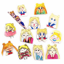 1PCS <b>Sailor Moon</b> Soldier Cartoon <b>Anime</b> Girls <b>Harajuku</b> Icon Diy ...