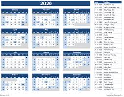 Download 2020 Yearly Calendar Sun Start Excel Template