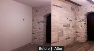 stone wall faux finish before and after