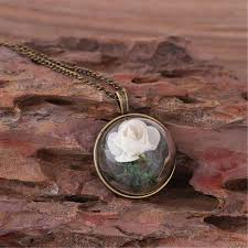 vintage women glass flower pendant clavicle chain necklace jewelry white us 4 99 ping newfrog com