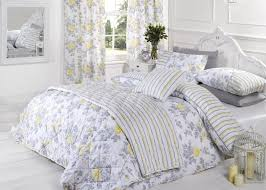 Lined Bedroom Curtains Lauren Rose Floral Flower Lemon Grey White 66x72 Ready Made Lined