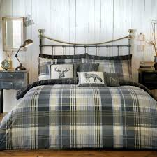 connolly check 100 brushed cotton duvet cover set super king charcoal on on