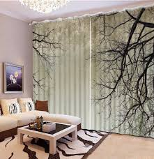 Black And White Curtain Designs Us 63 0 58 Off Modern Brief Curtain Branches Blackout 3d Curtains For Living Room Bedroom Black White Backdrop Curtain Decor In Curtains From Home