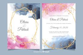 Wedding Invitation Templates With Photo Watercolor Wedding Invitation Template With Golden Frame