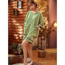 <b>Small Fresh</b> Green Tee <b>Avocado Pattern</b> Shorts Pajamas Round ...