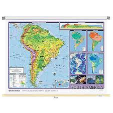 South America Physical Political Wall Map