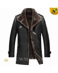 men shearling lined leather trench coat cw807801