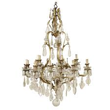 large chandelier gilded bronze crystal italy first half of 1900s