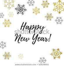 Happy New Year Card Lettering Golden Stock Vector Royalty Free