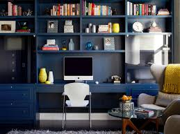 complete guide home office. Contemporary Home Office With Navy Bookshelves And Yellow Accents Complete Guide