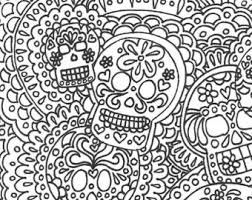 Small Picture Day of the Dead Sugar Skull printable adult coloring page