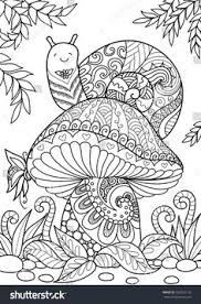 snail sitting on beautiful mushroom for t shirt design tattoo and coloring book page stock vector