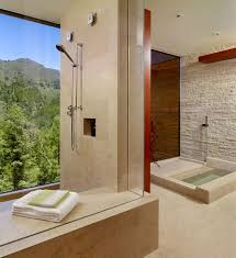 stone bathroom flooring texture. Stone Wall Brings A Rougher Texture To The Refined Contemporary Bathroom [Design: C Wright Flooring N