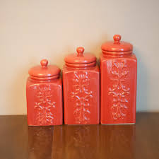Lime Green Kitchen Canisters Set Of Vintage Coral Ceramic Canisters Chinoiserie Kitchen