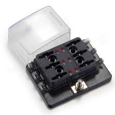 6 way blade fuse box holder positive bus in 12v led warning kit fuse box for small boat at Fuse Box 12v