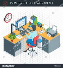 isometric office furniture vector collection. Isometric Office Furniture Vector Collection. Modren Collection Workplace Icons Set Businesswoman Working In E