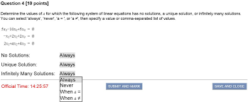 determine the values of a for which the following